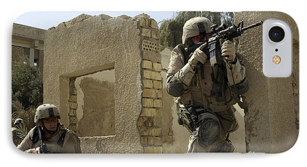 U.s. Army Soldiers Reacting To Small Phone Case by Stocktrek Images