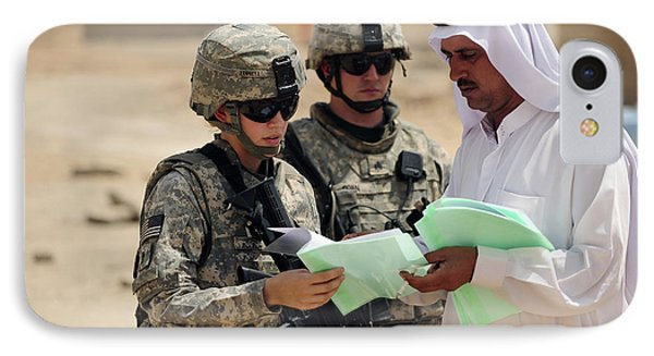 U.s. Army Soldiers Talking With A Town Phone Case by Stocktrek Images