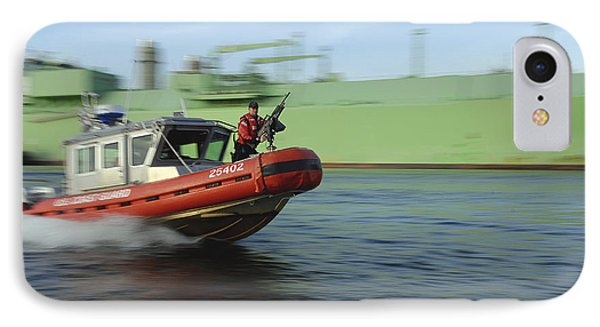 U.s. Coast Guard Officer Mans A M240b Phone Case by Stocktrek Images