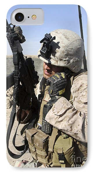 U.s. Marine Communicates With Fellow Phone Case by Stocktrek Images