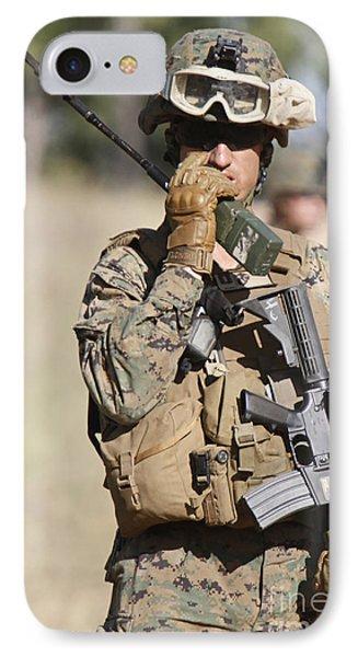 U.s. Marine Radios His Units Movements IPhone Case by Stocktrek Images