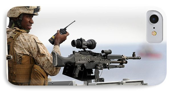 U.s. Marine Talks On A Radio While Phone Case by Stocktrek Images