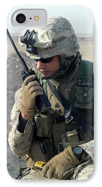 U.s. Marine Uses A Mbitr Anprc-148 Phone Case by Stocktrek Images