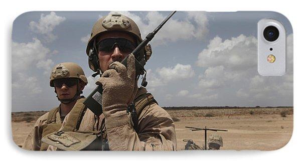 U.s. Marine Uses A Radio In Djibouti Phone Case by Stocktrek Images