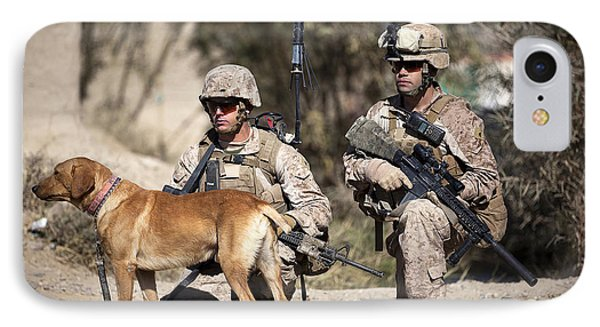 U.s. Marines And A Military Working Dog IPhone Case by Stocktrek Images