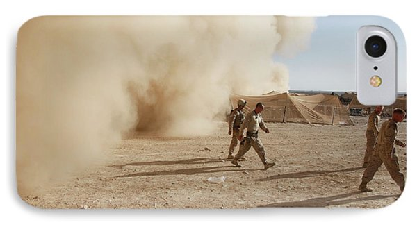 U.s. Marines Walk Away From A Dust Phone Case by Stocktrek Images
