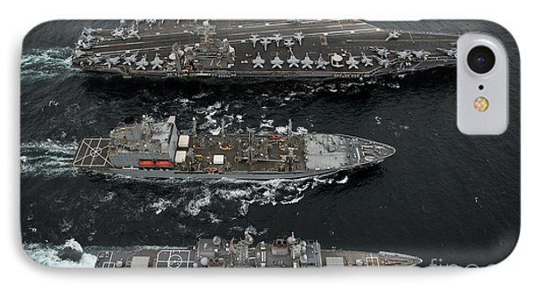 U.s. Navy Ships Conduct A Replenishment Phone Case by Stocktrek Images