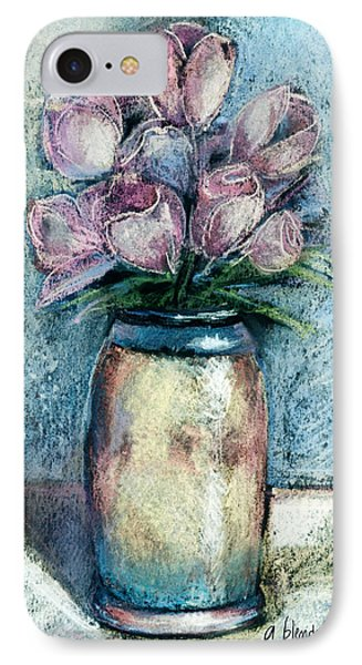 Vase Of Pink Tulips Phone Case by Arline Wagner