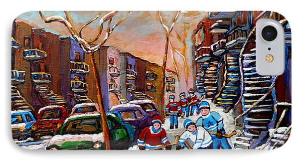 Verdun Montreal Hockey Game Near Winding Staircases And Row Houses Montreal Winter Scene IPhone Case by Carole Spandau