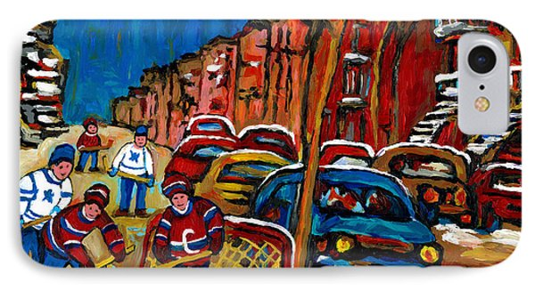 Verdun Rowhouses With Hockey - Paintings Of Verdun Montreal Street Scenes In Winter IPhone Case by Carole Spandau