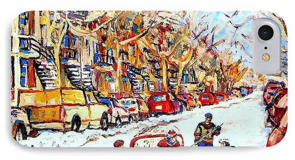 Verdun Street Hockey Game Goalie Makes The Save Classic Montreal Winter Scene IPhone Case by Carole Spandau