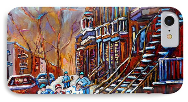 Verdun Street Scene Hockey Game Near Winding Staircases Vintage Montreal City Scene IPhone Case by Carole Spandau