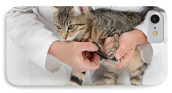 Vet Clipping Kittens Claws Phone Case by Mark Taylor