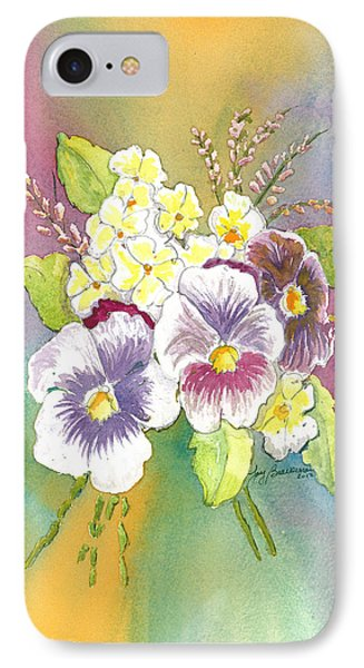 IPhone Case featuring the painting Vibrant Panseys by Joy Braverman