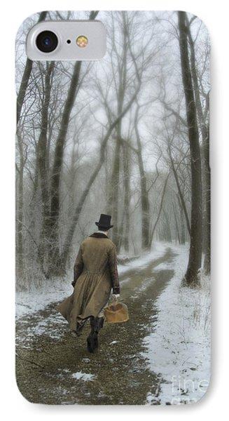 Victorian Gentleman Walking Through Woods Phone Case by Jill Battaglia