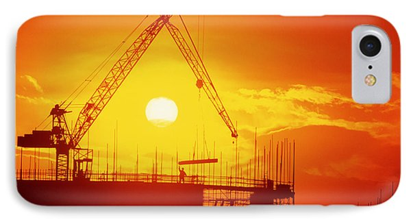 View Of A Construction Site At Sunset IPhone Case