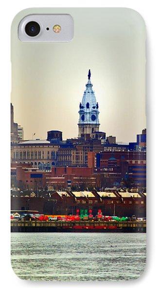 View Of Philadelphia City Hall From Camden Phone Case by Bill Cannon