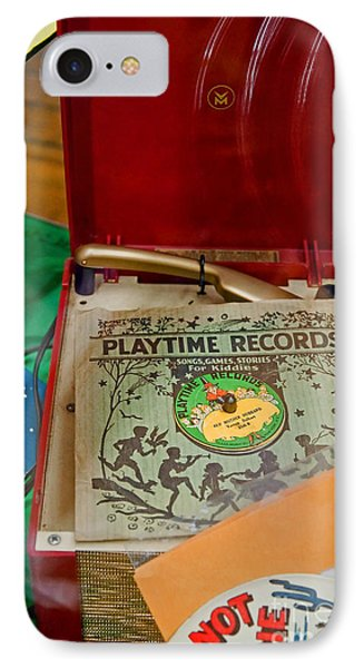 IPhone Case featuring the photograph Vintage 45 Record Player And Record Albums by Valerie Garner