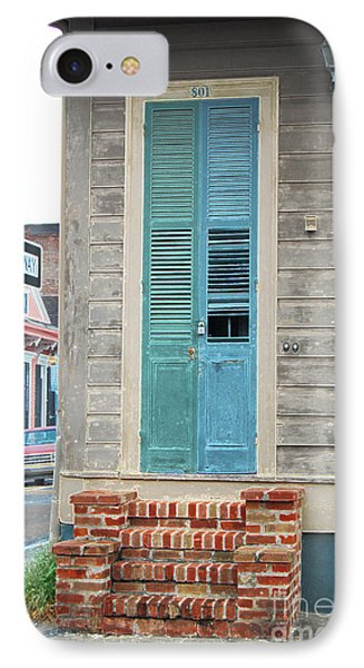 Vintage Dual Color Wooden Door And Brick Stoop French Quarter New Orleans Accented Edges Digital Art Phone Case by Shawn O'Brien