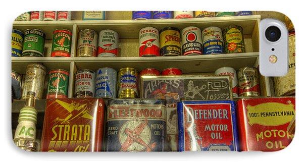 Vintage Garage Oil Cans Phone Case by Bob Christopher