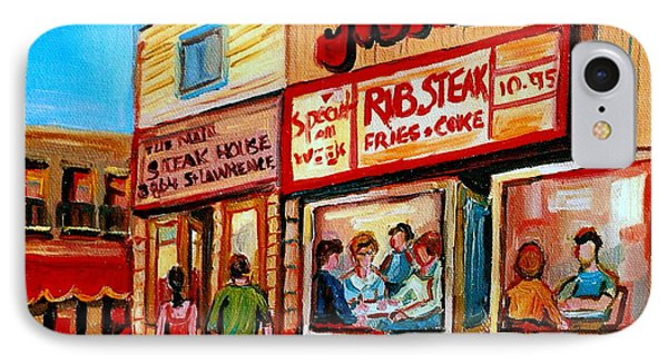 Vintage Montreal City Scene Boulevard St. Laurent Phone Case by Carole Spandau