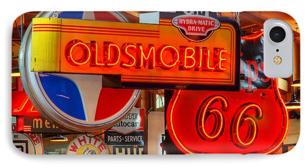 Vintage Neon Sign Oldsmobile Phone Case by Bob Christopher