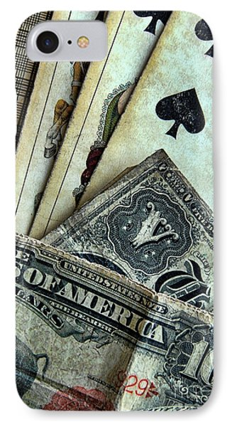 Vintage Playing Cards And Cash Phone Case by Jill Battaglia