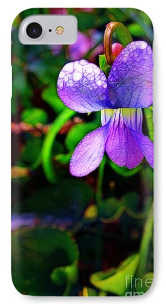 Violet With Dew Phone Case by Judi Bagwell