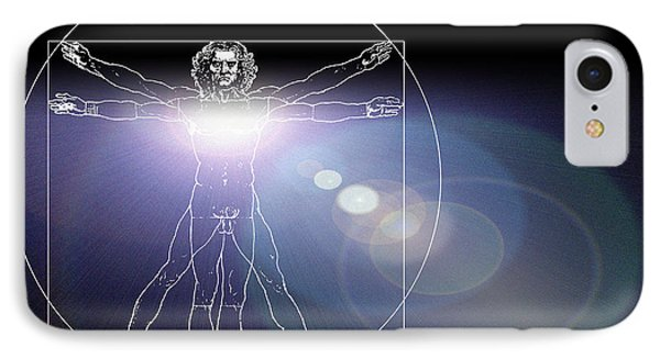 Vitruvian Man With Flare In Chest Phone Case by Laguna Design
