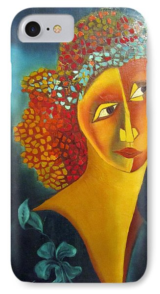 Waiting For Partner Orange Woman Blue Cubist Face Torso Tinted Hair Bold Eyes Neck Flower On Dress IPhone Case by Rachel Hershkovitz