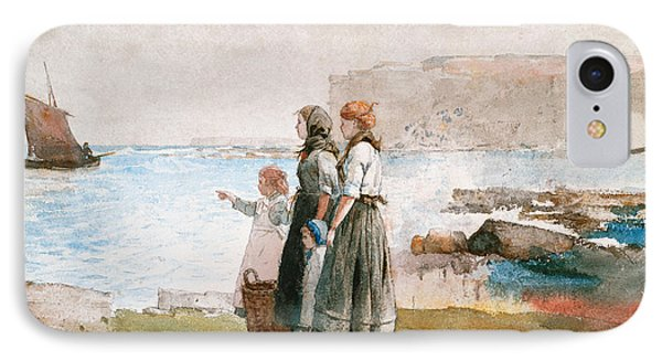 Waiting For The Return Of The Fishing Fleets Phone Case by Winslow Homer