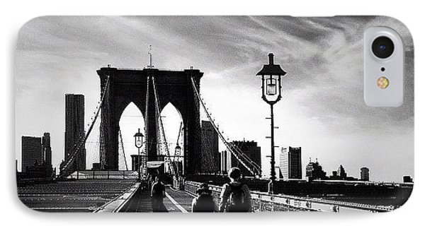 Walking Over The Brooklyn Bridge - New York City IPhone Case by Vivienne Gucwa
