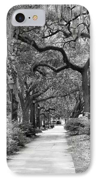 Walking Through The Park In Black And White Phone Case by Suzanne Gaff