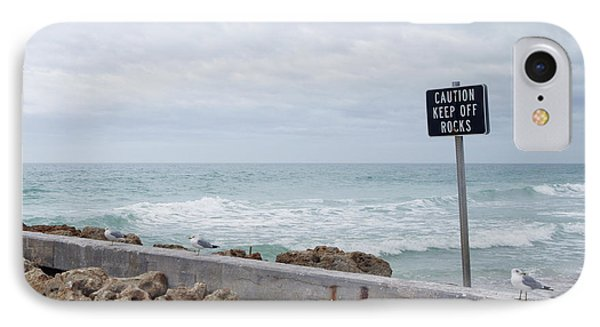 Warning Sign At The Beach Phone Case by Skip Nall