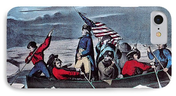 Washington Crossing The Delaware, 1776 IPhone Case by Photo Researchers