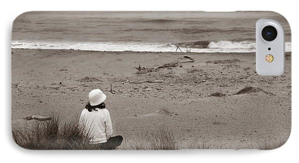 Watching The Ocean In Black And White IPhone Case by Henrik Lehnerer