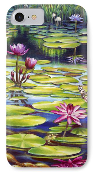 IPhone Case featuring the painting Water Lilies At Mckee Gardens II - Butterfly And Frog by Nancy Tilles