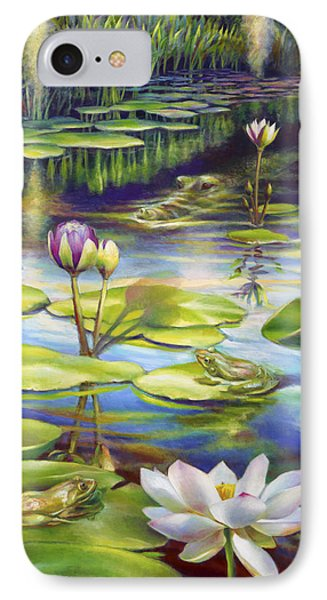 IPhone Case featuring the painting Water Lilies At Mckee Gardens IIi - Alligator And Frogs by Nancy Tilles