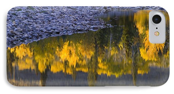 Water Reflections With A Rocky Shoreline Phone Case by Carson Ganci