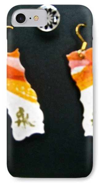 Watercolor Earrings Eternity Orange White Gold Phone Case by Beverley Harper Tinsley