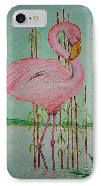 Watercolor Pencil Flamingo IPhone Case