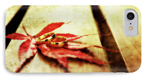 Wedding Rings On Red Phone Case by Meirion Matthias