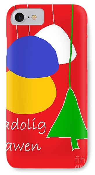 IPhone Case featuring the digital art Welsh Christmas Card by Barbara Moignard