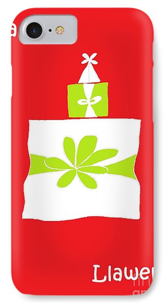 IPhone Case featuring the digital art Welsh Merry Christmas Red by Barbara Moignard