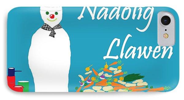 IPhone Case featuring the digital art Welsh Snowman Chef by Barbara Moignard