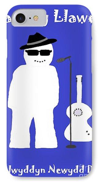 IPhone Case featuring the digital art Welsh Snowman Musician by Barbara Moignard