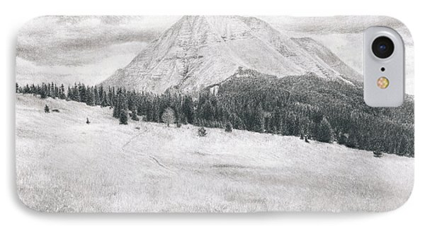 IPhone Case featuring the drawing West Spanish Peak by Joshua Martin