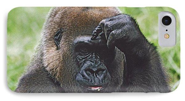 Western Gorilla Portrait With Finger On Phone Case by David Ponton
