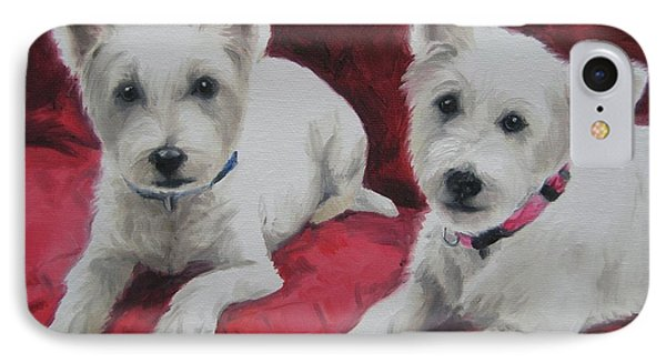IPhone Case featuring the painting Westies by Jindra Noewi