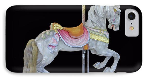 IPhone Case featuring the photograph White Dappled Carousel Horse by Cindy Lee Longhini